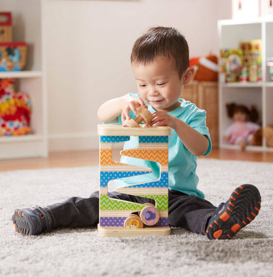 First Play Wooden Safari Zig-Zag Tower With 4 Rolling Pieces buy online