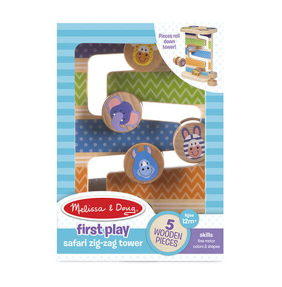 First Play Wooden Safari Zig-Zag Tower With 4 Rolling Pieces cogs the brain shop